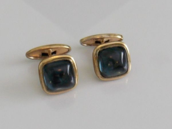 Blue Gray Art Deco Glass Cufflinks