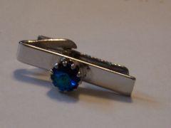 Dark Blue Stone Vintage Tie Clip.