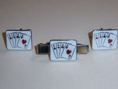 Enamel Aces High Vintage Cuff Link Tie Clip Set In White. Card Cufflinks.