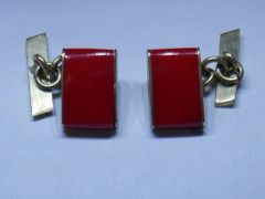 Rich Red On Gold Tone. Vintage French Chain Link Cufflinks.