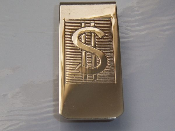 Vintage Men's Accessories. Money Clip. Dollar Sign Money Clip.