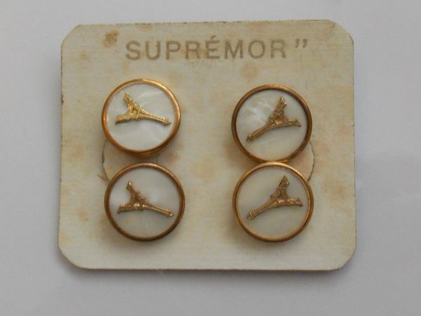 Art Deco Paris Cufflinks. Paris Chain Link Cufflinks. Vintage Supremor Souvenir Cufflinks.