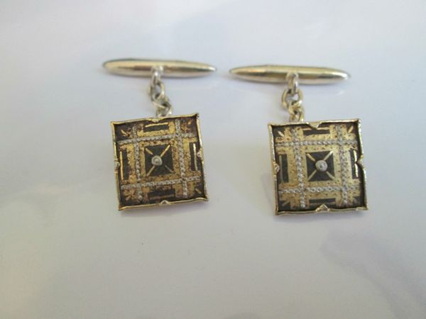 Small French Vintage Cufflinks. Damascene Style.