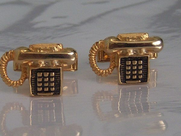 Vintage Cufflinks. Touch Tone Telephone Cufflinks.