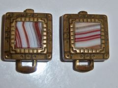 Antique Cufflinks. Finger Clip Cufflinks. Clip Back Brass With Banded Centers.