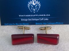 Vintage Russian Red Lucite Cufflinks