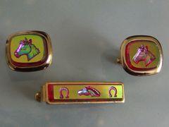 Vintage Equestrian Horse Racing Cufflinks. Horse Cuff Links. Set 2.
