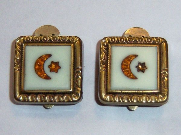 Trademark Clip Back Moon And Star Cufflinks. Antique Victorian Finger Clip Cufflinks.