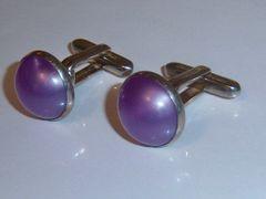 Signed Vintage Lucite Cufflinks. Round Mauve Purple Cufflinks.
