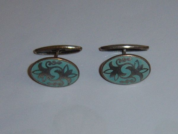 Light Green Art Deco Russian Cufflinks