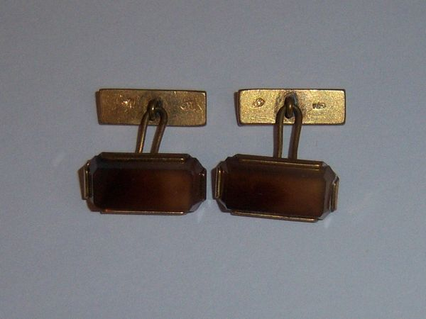 Russian Vintage Cufflinks. Natural Brown Stone Cufflinks.
