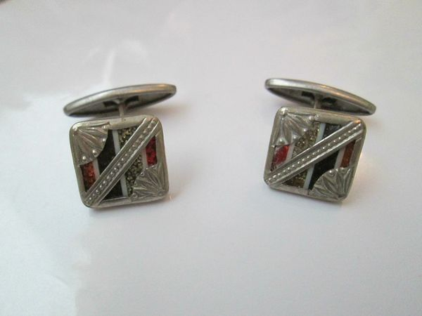 French Art Deco Cufflinks. Small Cufflinks With Colorful Inset.