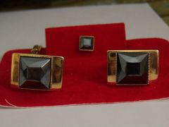 Black Stone Vintage Cufflinks And Tie Tac.