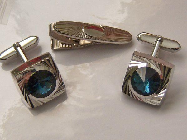 Vintage Cufflink Tie Clip Set. Blue Stone Swirl Cufflinks.