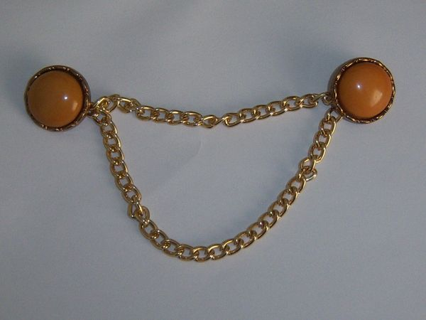 Vintage Butterscotch Blazer Vest Button Chains