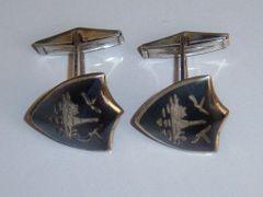 Silver Cufflinks. Siam Silver Shield Traditional Cufflinks.