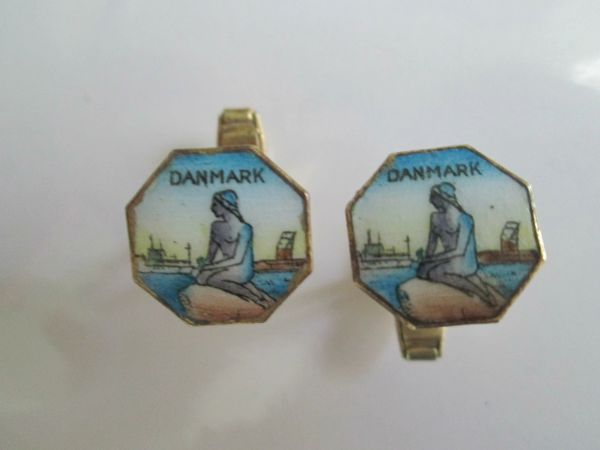 Small Enamel Mermaid Mythological Cufflinks.
