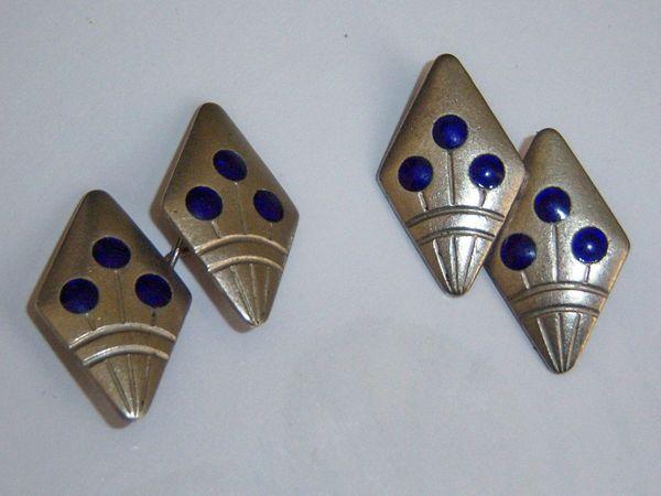 Art Deco Russian Cufflinks. Flower Pot With Blue Enamel.