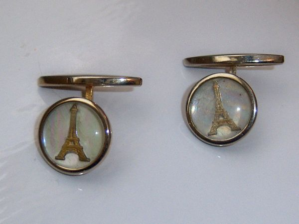 Vintage Eiffel Tower Cufflinks. Paris Travel Souvenir Cufflinks. French Cufflinks.