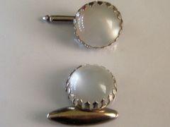 Vintage Art Deco Cufflinks. Complete White Lucite Cufflink Set.