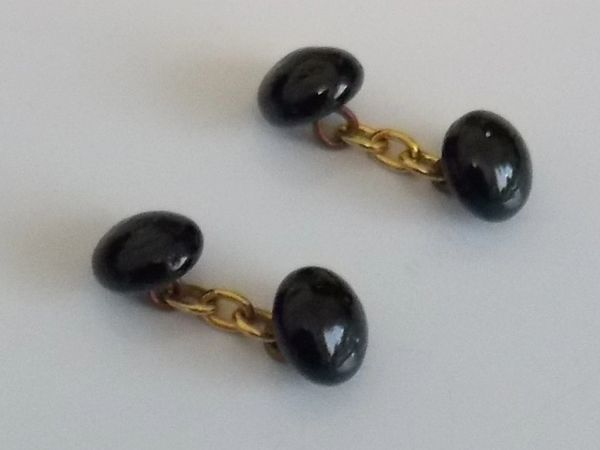 Vintage Black Glass Chain Link Cufflinks