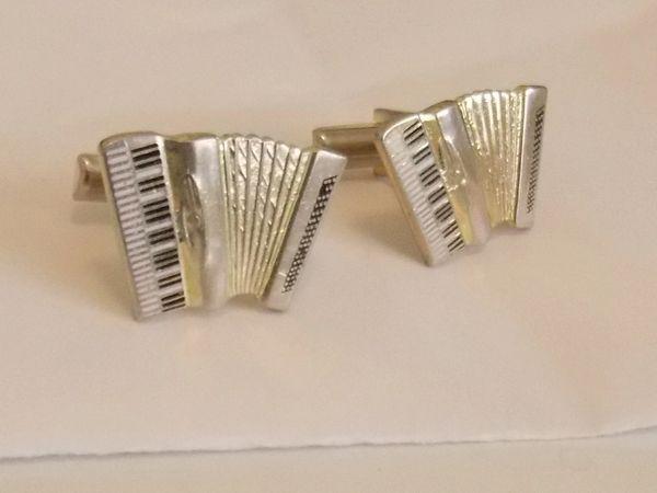 SOLD: Vintage Accordion Cufflinks. Squeezebox Cufflinks. Folk Cufflinks : SOLD