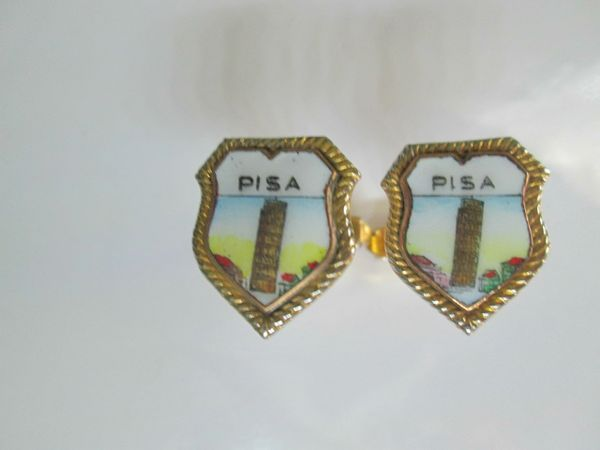 Enamel Pisa Vintage Cufflinks. Travel Cufflinks. Leaning Tower Cufflinks. Italian Cufflinks.