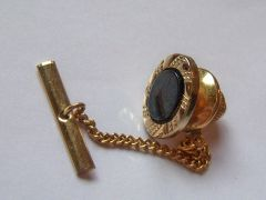 Black Oval Vintage Tie Tack On Gold Tone.