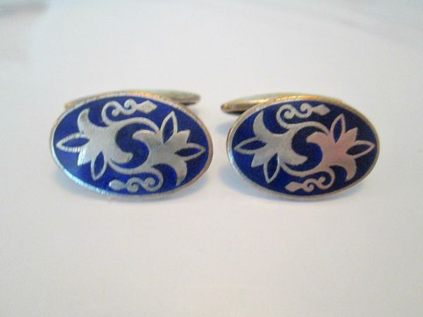 Russian Blue Enamel Art Deco Cufflinks