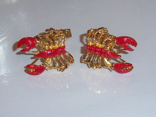 Vintage Cuff Links. Red Enamel Lobster Cuff Links.