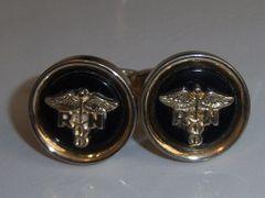 Vintage Cufflinks. R.N. Caduceus Nursing Cufflinks. Black.