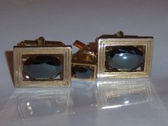 Vintage Cuff Links. Faceted Hematite. Full Set.