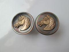 French Equestrian Cufflinks. Horse Head Vintage Cufflinks.