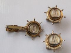 Vintage Cufflinks. Nautical Ships Wheel And Sailboat Cufflinks.