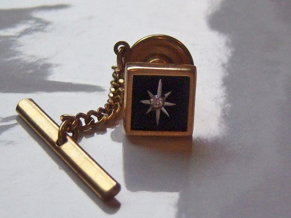 Star Vintage Tie Tack. Black On Gold Tone.