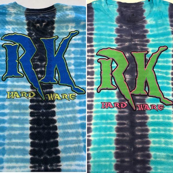 Big RK prints on tie dye shirts