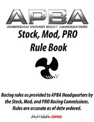 Stock Outboard, Modified Outboard, PRO Racing Rules