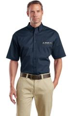 Short Sleeve SuperPro Twill Shirt-embroidered (chrome logo)
