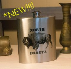 7 oz. North Dakota Fractal Bison Stainless Steel Flask