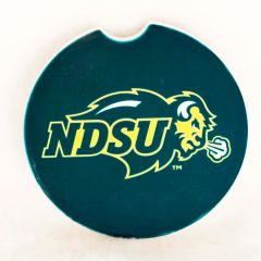 NDSU Primary Logo on Green Sandstone Car Coaster