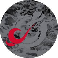 MSUM Grey Dragon Water 1 on Black Sandstone Car Coaster