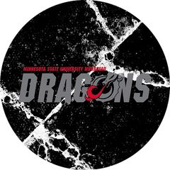 MSUM Dragons in Grey Cracks 1 on Black Sandstone Car Coaster
