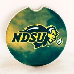 NDSU Primary Logo Fog 3 Sandstone Car Coaster