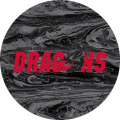 MSUM Dragons in Red Black Dragon Concrete 1 on Black Sandstone Car Coaster