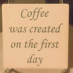 Coffee First Day Sandstone Coaster