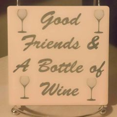 Good Friends & A Bottle of Wine Sandstone Coaster