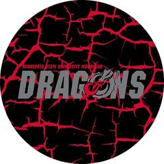 MSUM Dragons in Grey Cracks 4 on Black Sandstone Car Coaster