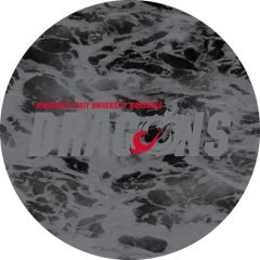 MSUM Dragons in Grey Water 1 on Black Sandstone Car Coaster