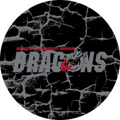 MSUM Dragons in Grey Cracks 3 on Black Sandstone Car Coaster