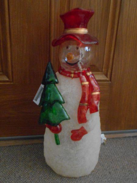 Barcona Lighted Snowman With Christmas Tree Christmas